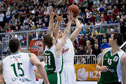 Dino Muric of Olimpija vs Zoran Dragic of Krka during basketball match between KK Union Olimpija Ljubljana and KK Krka Novo mesto of finals of 11th Slovenian Spar Cup 2012, on February 19, 2012 in Sports hall Brezice,  Brezice, Slovenia. (Photo By Vid Ponikvar / Sportida.com)