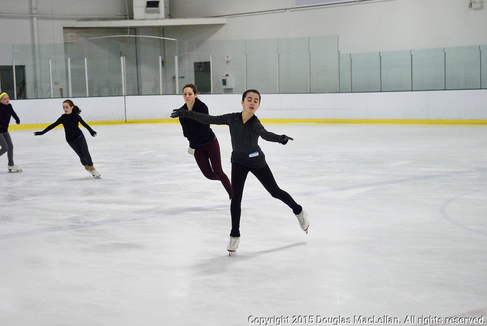 Ontario, Windsor. 10 April 2015. Brain Orser and Paige Aistrop, figure skating coaches, give a provate workshop to select skaters from Windsor and LaSalle at Central Ice Athletics. Orser is one of Canada's best known  skaters and last month had three students place in the top five at the World Skating Championships. Aistrop is a Canadian national level coach and specializes in spins.