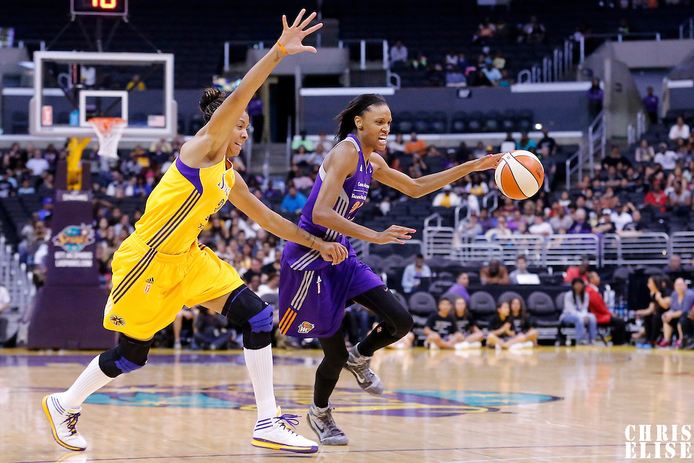18 May 2014: Phoenix Mercury guard/forward DeWanna Bonner (24) drives past Los Angeles Sparks forward/center Candace Parker (3) during the Phoenix Mercury 74-69 victory over the Los Angeles Sparks, at the Staples Center, Los Angeles, California, USA.