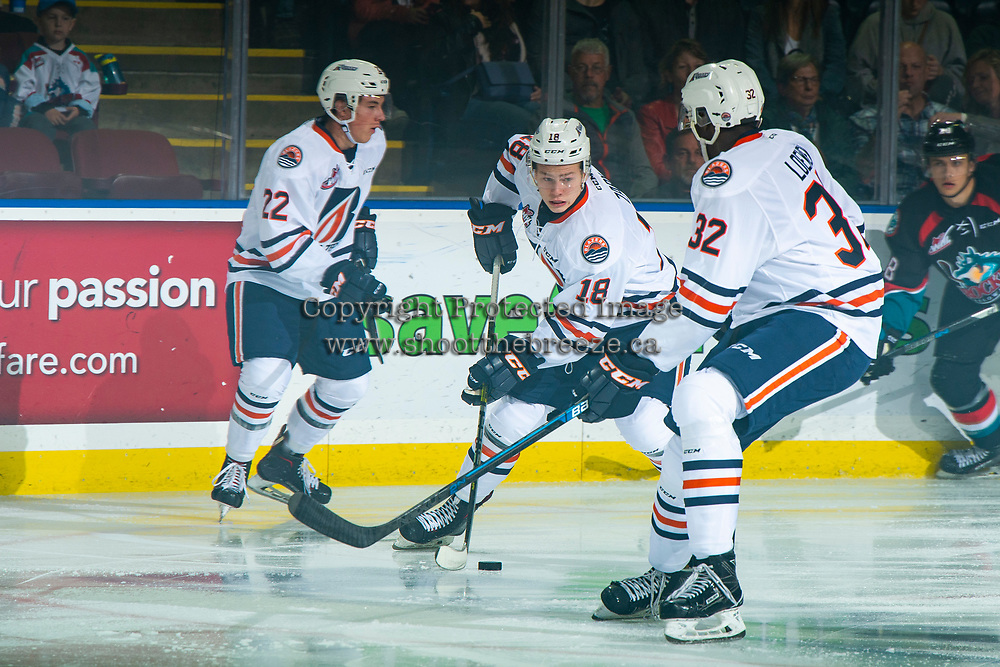 KELOWNA, CANADA - SEPTEMBER 22:  Connor Zary #18 of the Kamloops Blazers skates with the puck against the Kelowna Rockets on September 22, 2018 at Prospera Place in Kelowna, British Columbia, Canada.  (Photo by Marissa Baecker/Shoot the Breeze)  *** Local Caption ***