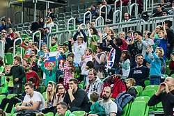 Kids cheering during basketball match between National teams of Slovenia and Latvia in Round #10 of FIBA Basketball World Cup 2019 European Qualifiers, on December 2, 2018 in Arena Stozice, Ljubljana, Slovenia. Photo by Grega Valancic