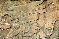 Mexique, Etat du Yucatan, site archeologique de Chichen Itza, Patrimoine Mondial UNESCO, bas relief, anciennes, ruines maya // Mexico, Yucatan state, Chichen Itza archeological site, World heritage of UNESCO, ancient mayan ruins, stone relief