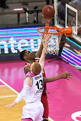 28.03.2016, Telekom Dome, Bonn, GER, Beko Basketball BL, Telekom Baskets Bonn vs FC Bayern Muenchen, 23. Runde, im Bild Vitalis Chikoko (FC Bayern Muenchen #23) beim Korbleger gegen Aarib White (Telekom Baskets Bonn #13) // during the Beko Basketball Bundes league 23th round match between Telekom Baskets Bonn and FC Bayern Munich at the Telekom Dome in Bonn, Germany on 2016/03/28. EXPA Pictures © 2016, PhotoCredit: EXPA/ Eibner-Pressefoto/ Schüler<br /> <br /> *****ATTENTION - OUT of GER*****