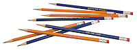 pile of number 2 pencils in orange and blue with cute cooking slogans