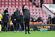 Watford manager Nigel Pearson celebrates the 3-0 wine at full time during the Premier League match between Bournemouth and Watford at the Vitality Stadium, Bournemouth, England on 12 January 2020.