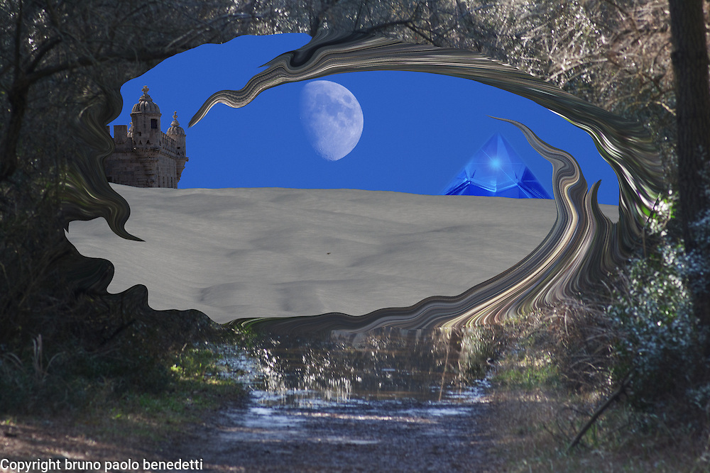 fluid gateway in the forest takes to a new dimension with surreal landscape with snow, moon, a fort and crystal pyramid