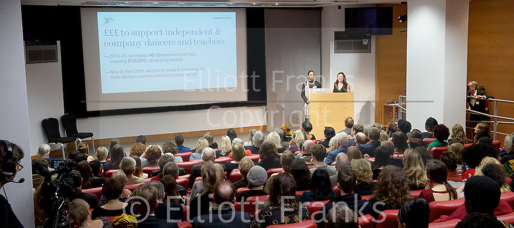 New national dance industry body launched and name announced - One Dance UK<br /> at the Royal Society of Medicine, London, Great Britain <br /> 7th December 2015 <br /> <br /> Arlene Phillips CBE, Alistair Spalding CBE, Chief Executive and Artistic Director of Sadler&rsquo;s Wells, and <br /> Althea Efunshile<br /> Deputy Chief Executive of Arts Council England, <br /> <br /> <br /> Photograph by Elliott Franks <br /> Image licensed to Elliott Franks Photography Services