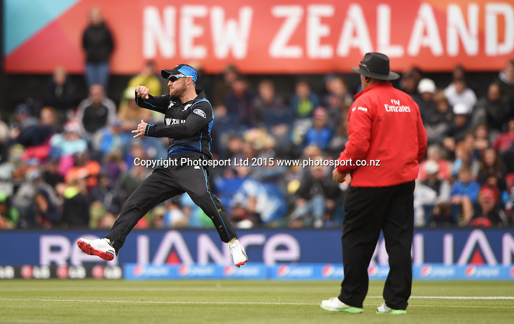 Brendon McCullum fielding during the ICC Cricket World Cup match between New Zealand and Sri Lanka at Hagley Oval in Christchurch, New Zealand. Saturday 14 February 2015. Copyright Photo: Andrew Cornaga / www.Photosport.co.nz