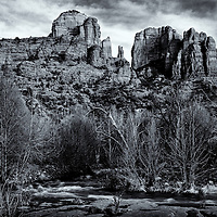 Black & White evening light at Cathedral Rock in Arizona