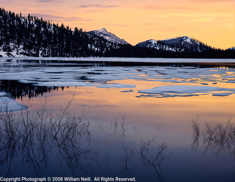 Sunset reflections, spring thaw, Tenaya Lake, Yosemite National Park, California
