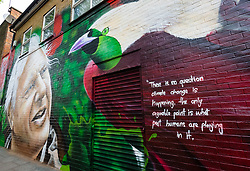 "© Licensed to London News Pictures. 06/05/2019. London, UK.  A woman and her dog walk past a new David Attenborough Mural painted on the side of a house in St Matthew's Row, east London.  The mural by urban artist, Jerome shows natural historian, David Attenborough with a message, ""There is no question climate change is happening. The only arguable point is what part humans are playing in it"". Photo credit: Vickie Flores/LNP"