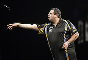 Adrian Lewis v James Wade at the Betway Premier League Darts at the Motorpoint Arena, Sheffield, United Kingdom on 9 April 2015. Photo by Glenn Ashley.