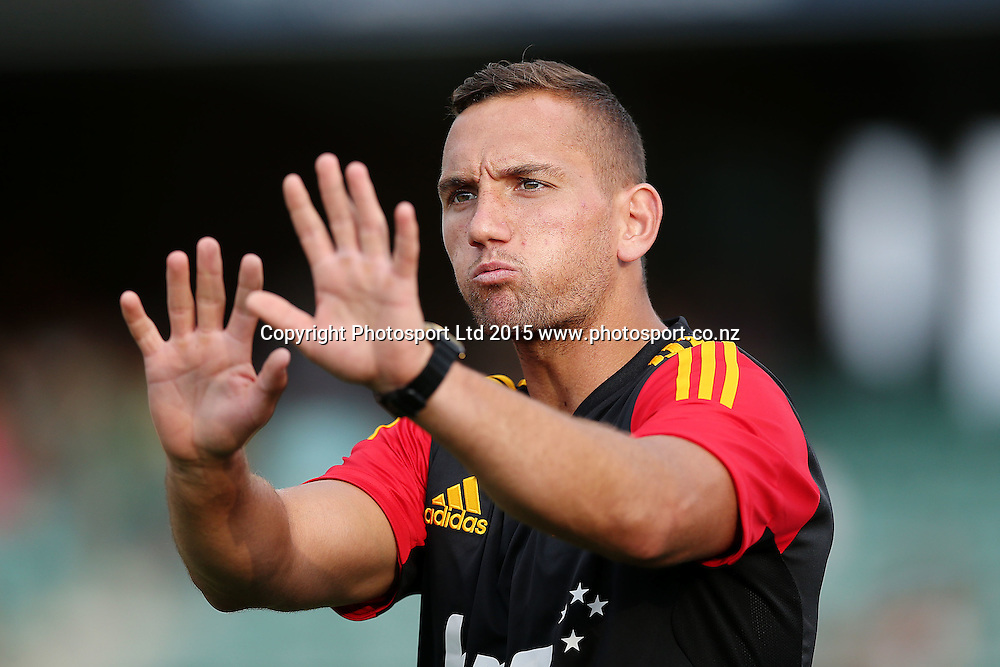 Aaron Cruden of the Chiefs. Super Rugby match, Blues v Chiefs at QBE Stadium, Auckland, New Zealand. Saturday 14 February 2015. Photo: Anthony Au-Yeung / www.photosport.co.nz