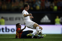 June 3, 2018 - Vila-Real, Castellon, Spain - Stephan Lichtsteiner (Juventus), Thiago (Bayern Munchen) during a International friendly match between Spain against Switzerland in La Ceramica Stadium, Villarreal, Spain, on 03 June of 2018. (Credit Image: © Jose Breton/NurPhoto via ZUMA Press)