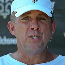 July 31, 2011; Metairie, LA, USA; New Orleans Saints head coach Sean Payton during training camp practice at the New Orleans Saints practice facility. Mandatory Credit: Derick E. Hingle