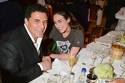TALLULAH HARLECH and ANDRE BALAZS at a dinner to celebrate the publication of Obsessive Creative by Collette Dinnigan hosted by Charlotte Stockdale and Marc Newson held at Mr Chow, Knightsbridge, London on 9th February 2015.