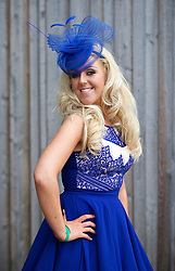 LIVERPOOL, ENGLAND - Friday, April 4, 2014: Rosie Burgess from the Wirral wearing Cia Cia Boutique during Ladies' Day on Day Two of the Aintree Grand National Festival at Aintree Racecourse. (Pic by David Rawcliffe/Propaganda)