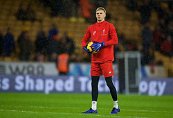 WOLVERHAMPTON, ENGLAND - Friday, December 21, 2018: Liverpool's goalkeeper Caoimhin Kelleher during the pre-match warm-up before the FA Premier League match between Wolverhampton Wanderers FC and Liverpool FC at Molineux Stadium. (Pic by David Rawcliffe/Propaganda)