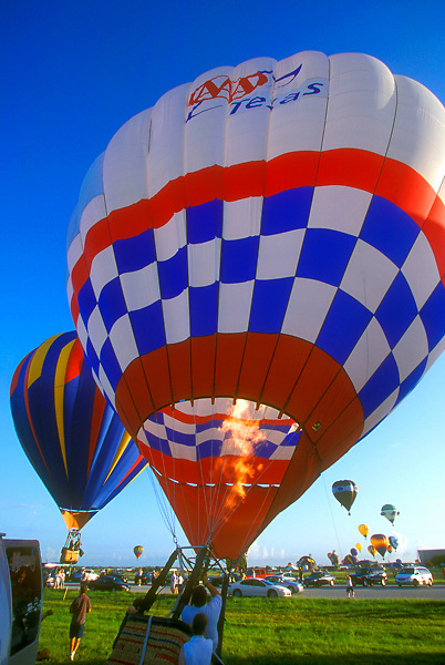 Stock photo of a hot air balloon preparing to take off at Houston's annual Balloonar Festival