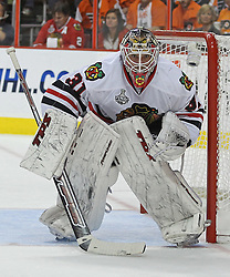 June 9, 2010; Philiadelphia, PA; USA;  Chicago Blackhawks goalie Antti Niemi (31) gets ready to make a save during the first period of Game 6 of the Stanley Cup Finals at the Wachovia Center.