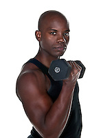 Young Body Builder African American doing excersice..