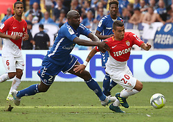 FONTVIEILLE, Sept. 17, 2017  Rony Lopez (R) of Monaco competes with Ernest Seka of Strasbourg during their match of French Ligue 1 in Fontvieille, Monaco on Sept. 16, 2017. Monaco won 3-0. (Credit Image: © Serge Haouzi/Xinhua via ZUMA Wire)
