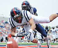 A pass is incomplete to Evan Engram (17) as Trae Elston (7) defends  at Mississippi's Grove Bowl controlled scrimmage at Vaught-Hemingway Stadium in Oxford, Miss. on Saturday, April 5, 2014. (AP Photo/Oxford Eagle, Bruce Newman)