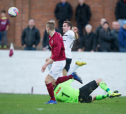 Raith Rovers Lewis Vaughan misses a chance.<br /> Linlithgow Rose 0 v 2 Raith Rovers, William Hill Scottish Cup Third Round game player today at Prestonfield.