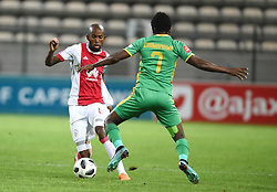 Cape Town-180424 Ajax Cape Town defender  Mosa Lebusa tchallenged by Baroka winger Talent Chiwapiwa In a PSL game at   at Athlone stadium.photographer:Phando Jikelo/African News Agency/ANA