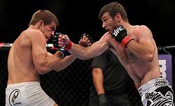 Atlantic City, NJ - June 22, 2012: Dan Miller (black/white trunks) and Ricardo Funch (white trunks) at UFC on FX 4 at Ovation Hall at Revel Resort & Casino in Atlantic City, New Jersey.