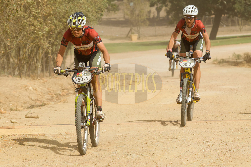 Ester Suss and Sally Bigham of Team Wheels4Life enjoy a comfortable lead in the ladies race during stage 4 of the 2012 Absa Cape Epic Mountain Bike stage race held at the Overberg Primary & High School in Caledon, South Africa on the 29 March 2012..Photo by Greg Beadle/Cape Epic/SPORTZPICS