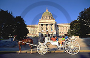 PA Capitol, Tourists and Horse-drawn Carriage, Harrisburg, Pennsylvania