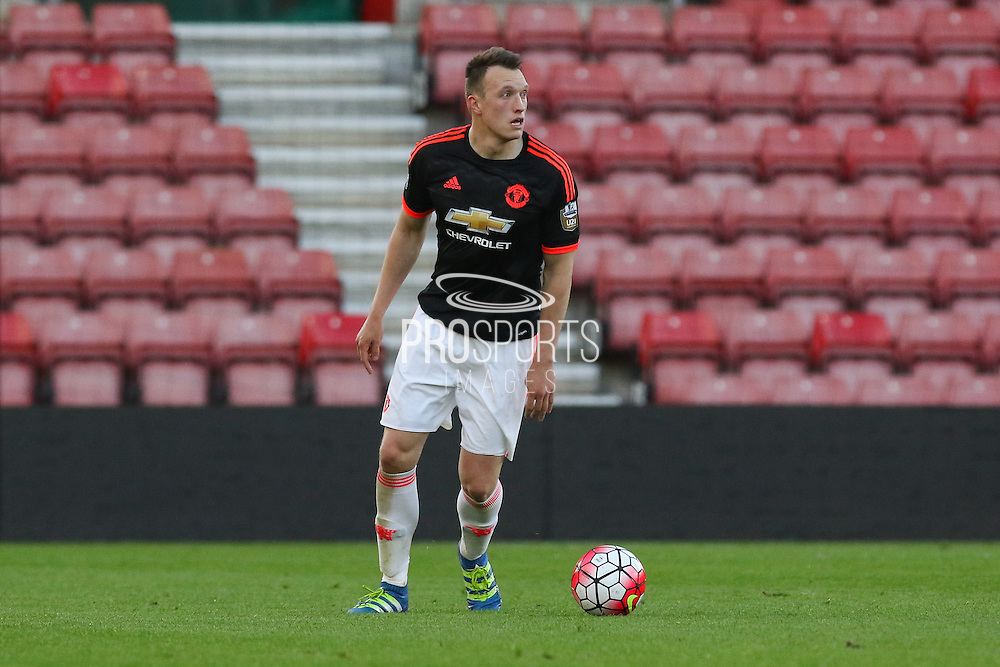 Manchester United Phil Jones during the Barclays U21 Premier League match between U21 Southampton and U21 Manchester United at the St Mary's Stadium, Southampton, England on 25 April 2016. Photo by Phil Duncan.