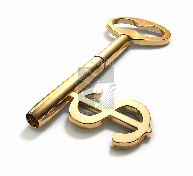 A key with a dollar-sign implemented on White. Includes ClippingPath