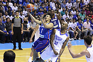 November 27, 2017 - Quezon City, NCR, Philippines - Kiefer Isaac Ravena (1) of the Philippines drives past two players from soars past Quincy Davis III (50) of Chinese Taipei to convert an uncontested lay-up during their FIBA World Cup Qualifying Match..Gilas Pilipinas defeated the visiting Chinese Taipei team 90-83 to complete a sweep of their first two assignments in the FIBA 2019 World Cup qualifiers. (Credit Image: © Dennis Jerome S. Acosta/Pacific Press via ZUMA Wire)