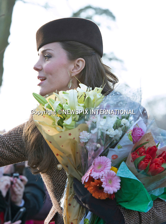 25.12.2014, Sandringham; UK: KATE, DUCHESS OF CAMBRIDGE<br /> joined othe members of the Royal Family at the Christmas Day Church Service at St. Mary Magdalene's on the Sandringham Estate.<br /> Royals in attendance included the Queen, Prince Philip, Prince Charles, Camilla, Prince Andrew, Princesses Beatrice and Eugenie, Princes William and Harry, Princess Anne, Tim Laurence, Prince Edward, Sophie Wessex, Zara Phillips, Mike Tindall, Peter Phillips, Autumn Kelly, The Linleys and The Chattos_25/12/2014<br /> MANDATORY PHOTO CREDIT: &copy;NEWSPIX INTERNATIONAL<br /> <br /> (Failure to credit will incur a surcharge of 100% of reproduction fees)<br /> <br /> **ALL FEES PAYABLE TO: &quot;NEWSPIX  INTERNATIONAL&quot;**<br /> <br /> Newspix International, 31 Chinnery Hill, Bishop's Stortford, ENGLAND CM23 3PS<br /> Tel:+441279 324672<br /> Fax: +441279656877<br /> Mobile:  07775681153<br /> e-mail: info@newspixinternational.co.uk