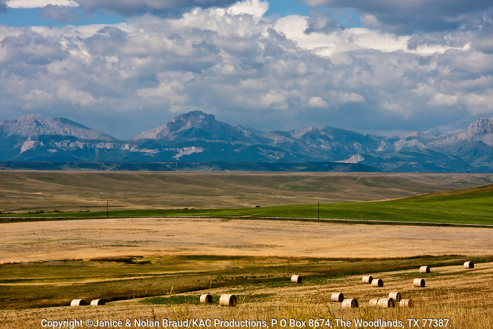 Hay bales and incredibly vast fields of grain are typical of the high plains of Montana. Large scale grain farming and cattle ranching on these almost treeless create vistas that seem to go on uninterrrupted as far as the eye can see.