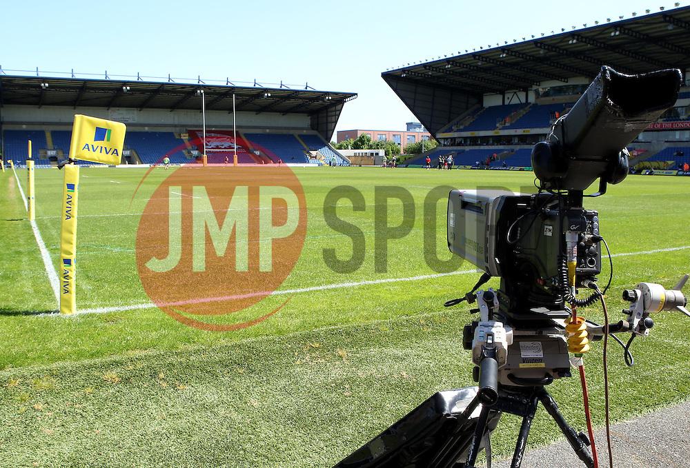 A TV camera set up at The Kassam Stadium - Photo mandatory by-line: Robbie Stephenson/JMP - Mobile: 07966 386802 - 16/05/2015 - SPORT - Rugby - Oxford - Kassam Stadium - London Welsh v Saracens - Aviva Premiership