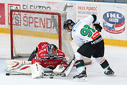 Roland Kaspitz of Olimpija and Jure Pavlic of Jesenice during ice hockey match between HDD SIJ Acroni Jesenice and HDD Telemach Olimpija, on August 29 in Dvorana Podmezaklja, Jesenice, Slovenia. Photo by Matic Klansek Velej / Sportida