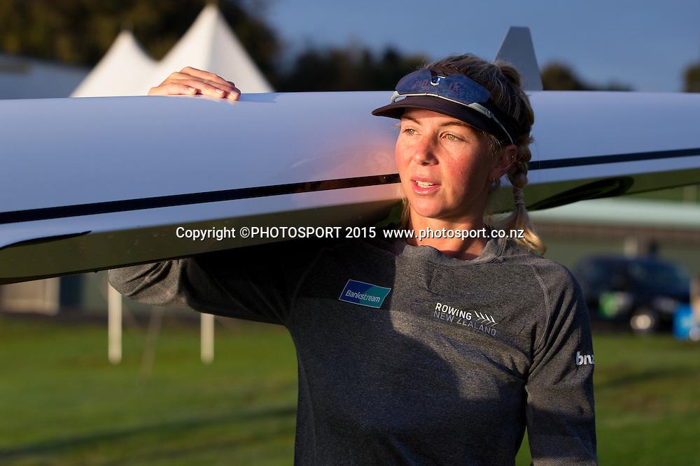 Women's Double Scull Zoe Stevenson at the Rowing NZ Media Day, Lake Karapiro, Cambridge, New Zealand, Wednesday 6 May 2015. Photo: Stephen Barker/Photosport.co.nz