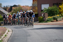 Marianne Vos leads the front group as they approach Rodeberg for the first of three ascents at Dwars door de Westhoek 2016. A 127km road race starting and finishing in Boezinge, Belgium on 24th April 2016.