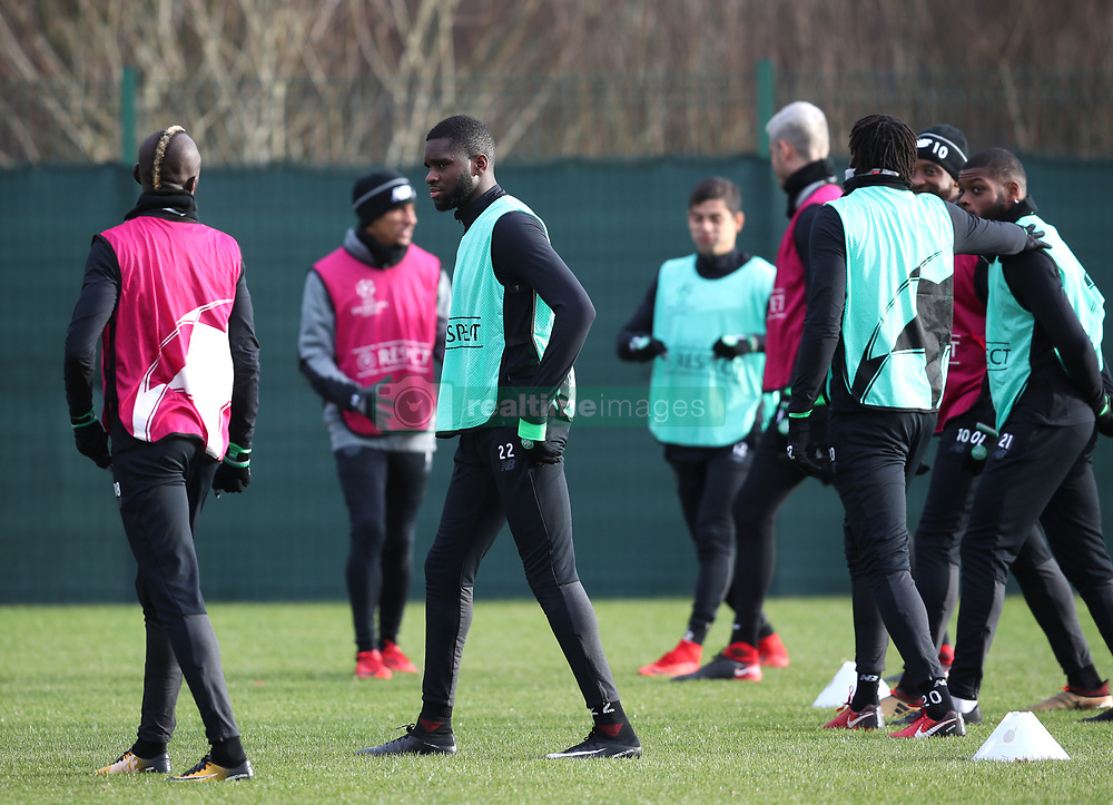 Celtic's Odsonne Edouard (centre left) during the training session at Lennoxtown, Glasgow.