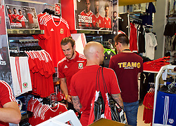 CARDIFF, WALES - Thursday, June 2, 2016: Wales' Gareth Bale shopping during a visit to a JD Sports store in Llantrisant. (Pic by Ian Cook/Propaganda)