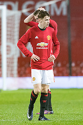 © Licensed to London News Pictures . 12/12/2016 . Manchester , UK . MUFC's AIDEN BARLOW dejected at the final whistle . Manchester United vs Southampton FA Youth Cup Third Round match at Old Trafford . Photo credit : Joel Goodman/LNP