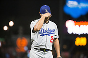 Los Angeles Dodgers starting pitcher Yu Darvish (21) walks off the mound after pitching against the San Francisco Giants at AT&T Park in San Francisco, California, on September 13, 2017. (Stan Olszewski/Special to S.F. Examiner)