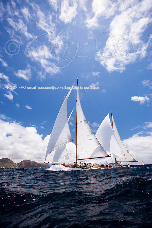 Galatea sailing in the Windward Race at the Antigua Classic Yacht Regatta.