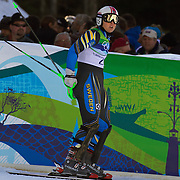 Winter Olympics, Vancouver, 2010.Anja Paerson, Sweden, winning the Bronze medal in the Alpine Skiing Ladies Super Combined competition at Whistler Creekside, Whistler, during the Vancouver Winter Olympics. 18th February 2010. Photo Tim Clayton