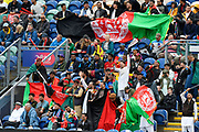Afghanistan fans wae their flags during the ICC Cricket World Cup 2019 match between Afghanistan and Sri Lanka at the Cardiff Wales Stadium at Sophia Gardens, Cardiff, Wales on 4 June 2019.