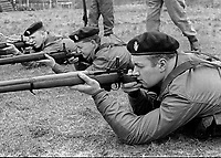 Members of the UDR, Ulster Defence Regiment, undergoing weapons training and shooting practice at Kinnegar Army Camp, Holywood, Co Down, N Ireland, March 1970. 197003000120b<br />
