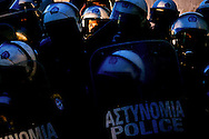 Riot police protects the Greek Parliament in Athens February 12, 2016. <br /> Farmers from across Greece gather in Athens for a two-day protest against the government and its plans to impose new tax hikes and pension charges.